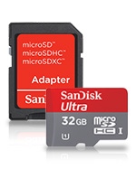 32GB SanDisk Ultra microSDHC and microDSXC Memory Card with SD Adapter (SANDMICRO32)